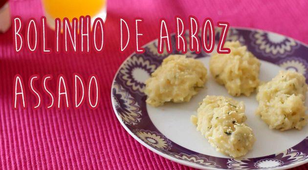Bolinho de arroz assado Ingredientes (no vídeo fiz meia receita) 2 xícaras (chá) de arroz cozido ½ xícara (chá) de leite 2 ovos 1 xícara (chá) de cheiro verde picado 2 colheres (sopa) de farinha de trigo Sal a gosto Pimenta-do-reino a gosto 1 gema para pincelar (a seu gosto) ½ xícara (chá) de queijo tipo parmesão ralado Óleo para untar a assadeira