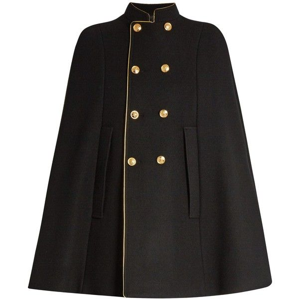Saint Laurent Double-breasted wool cape (8.120 BRL) ❤ liked on Polyvore featuring outerwear, wool capes, woolen cape, yves saint laurent, cape coat and military cape coat