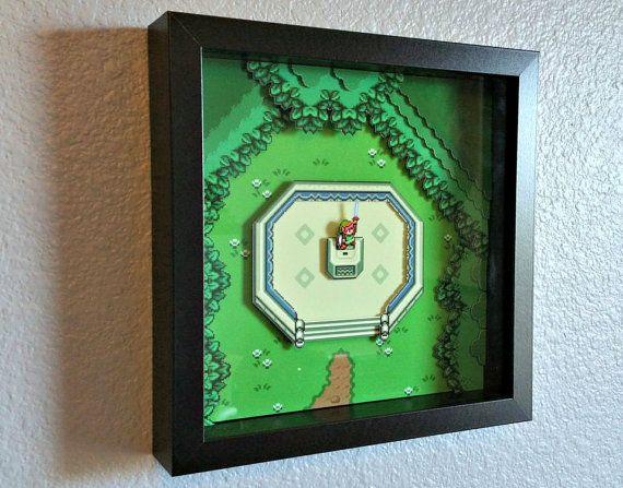 Zelda Link to the Past Master Sword Shadowbox by Decor8bitArt