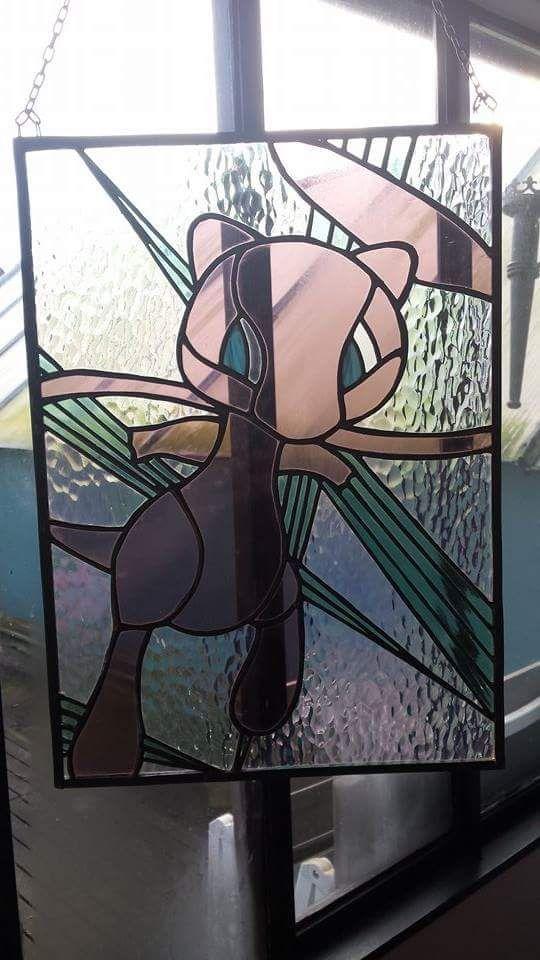Mew Pokémon stained glass, by RannDago.