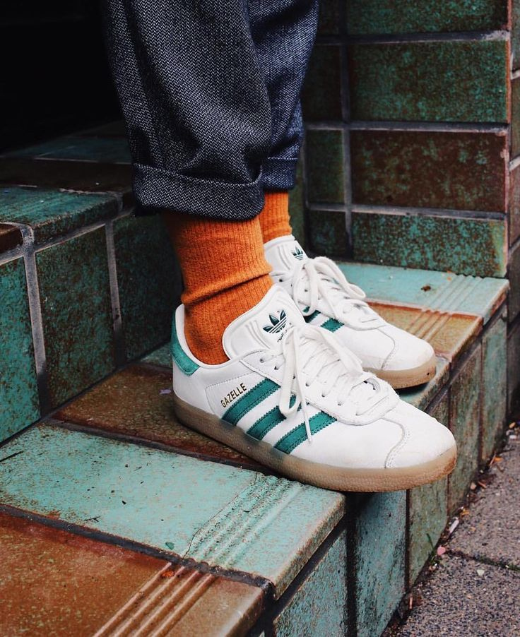 Orange Socks well matched with White/Green Adidas
