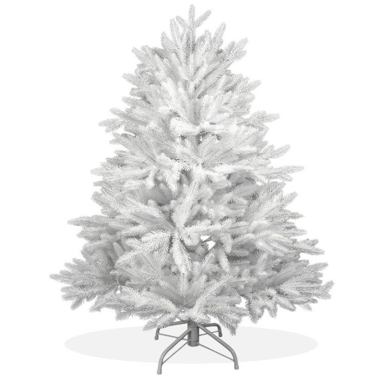 Künstlicher Weihnachtsbaum 120cm DeLuxe PE Spritzguss schneeweißer Tannenbaum Nordmanntanne, Christbaum