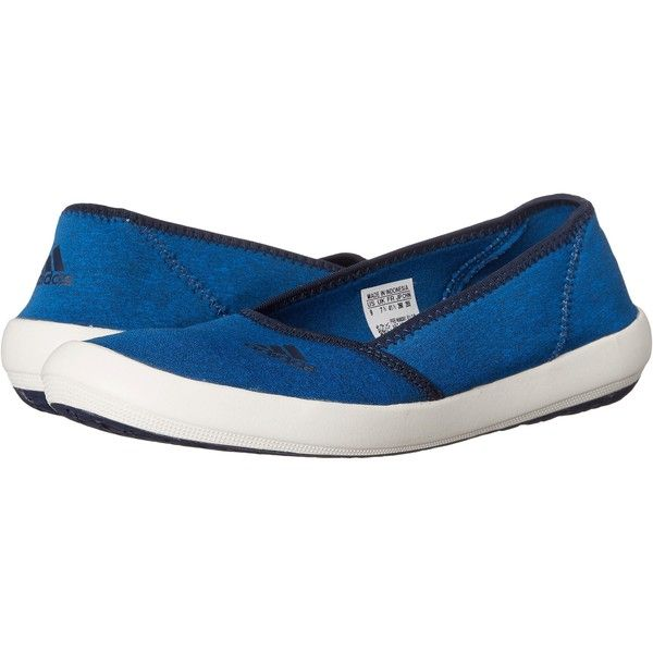 adidas Outdoor Boat Slip-On Sleek (Shock Blue/Collegiate Navy/Chalk... ($25) ❤ liked on Polyvore featuring shoes, flats, blue, ballet pumps, white flats, navy flats, adidas shoes and navy ballet flats