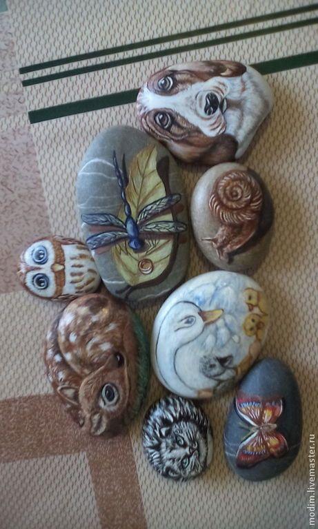 Купить Роспись на камушках (сувениры). Картины маслом - бежевый, рисунок на камушке, картины маслом, Живопись