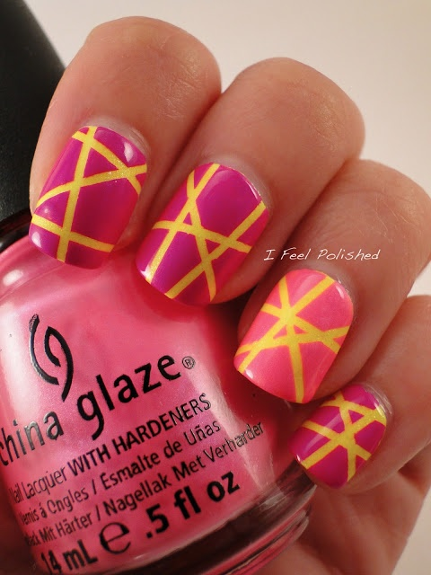 Paint nail yellow, then put strips of tape on, then paint pink over top.  #nailart #steps