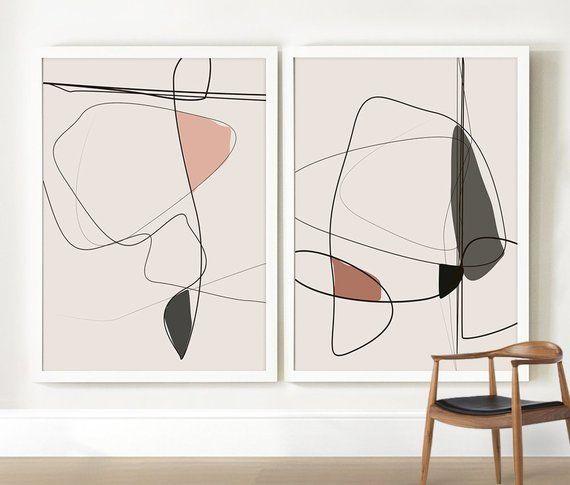 Abstract Art Set of 2, Beige Wall Art, Peach Blush Pink Art Print, Green Art Print, Minimal Line Art, Large Wall Art Print, Living Room Art – Mai linh Nguyen