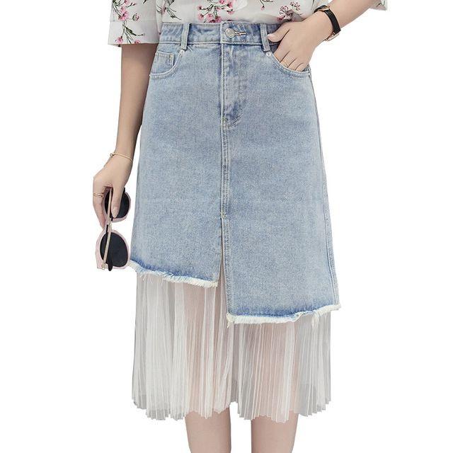 FASBYS 2017 Women's Clothing Cotton Stitching Net Yarn Blue A-Line Skirt Female Summer High Waist Bodycon Denim Skirt Size S-XL