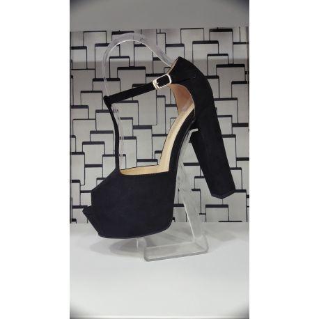 Sandale negre cu toc gros si platforma DAIMON 9181-Negru