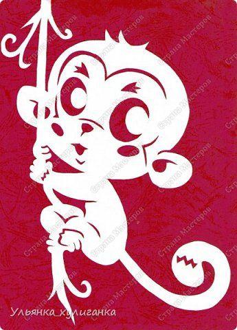 Картина панно рисунок Новый год Вырезание Вытынанки обезьяны - часть 2 Бумага фото 1