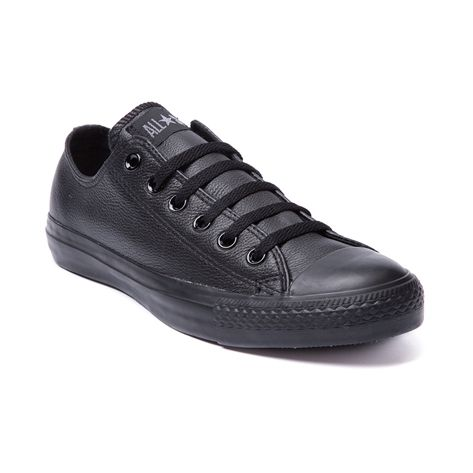 Converse All Star Lo Leather Sneaker, Black Mono Leather | Journeys Shoes