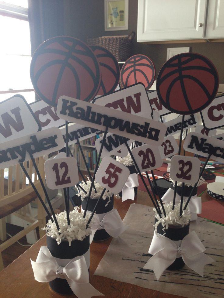 Basketball Banquet Centerpieces | Basketball/football cheer/cheerleading banquet/dinner table ...