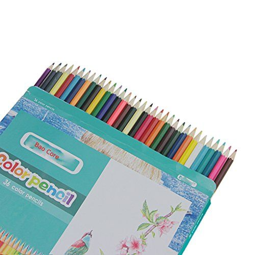 Bao Core 36 Assorted Color Wooden Pencils Great For Secret Garden Adult Coloring Books Drawing Artist Sketch Scrapbooking Sketching