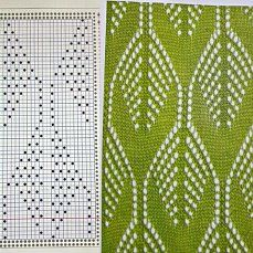 long leaf lace knitted chart pattern