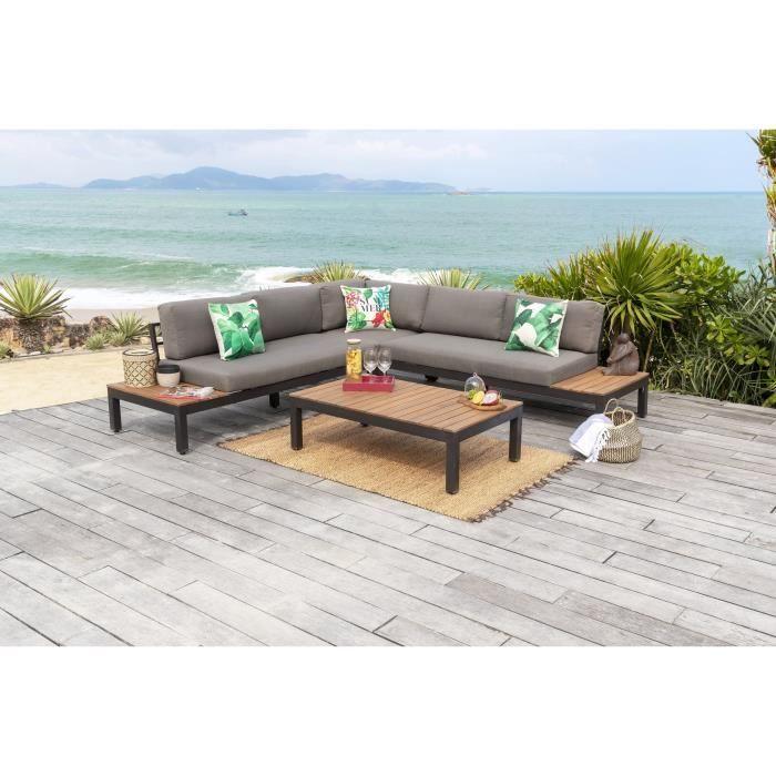 HANA Salon de jardin en bois d\'acacia - canapé modulable avec une ...