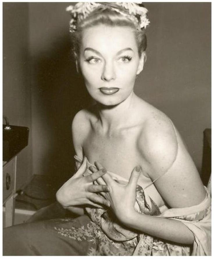 """Lili St CYR '50 (3 Juin 1918 - 29 Janvier 1999) Fue una famosa bailarina de strip-tease estadounidense.Cuando St. Cyr se retiró de los escenarios emprendió una carrera empresarial con una línea de lencería que se convirtió en su principal fuente de ingreso hasta su muerte. Al igual que los diseños de """"Frederick's of Hollywood"""", el """"Undie World of Lili St. Cyr"""" ofrecía productos especiales para artistas del strip-tease.El 29 de enero de 1999 falleció en su casa de los Angeles."""