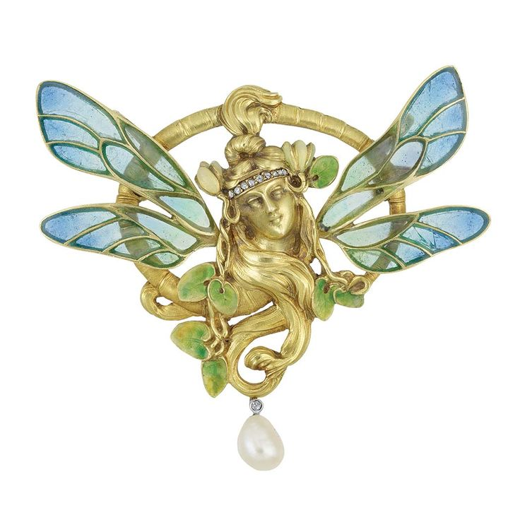 Oval Art Nouveau French brooch centering a sculpted woman's face enveloped with flowing locks of hair, her head topped by a diamond-set bandeau and accented by small leaves applied with green enamel, flanked by two pairs of wings decorated with blue and green plique-a-jour enamel, suspending one pearl, signed Depose, circa 1900.