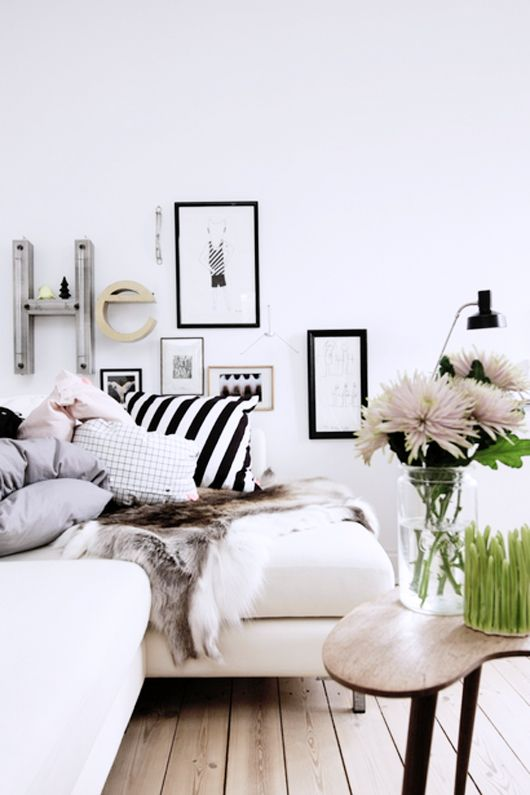 Wood floors, Black & White, Frames and letters on wall