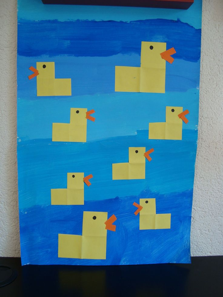 de kleine eendjes Little ducks from square shapes.