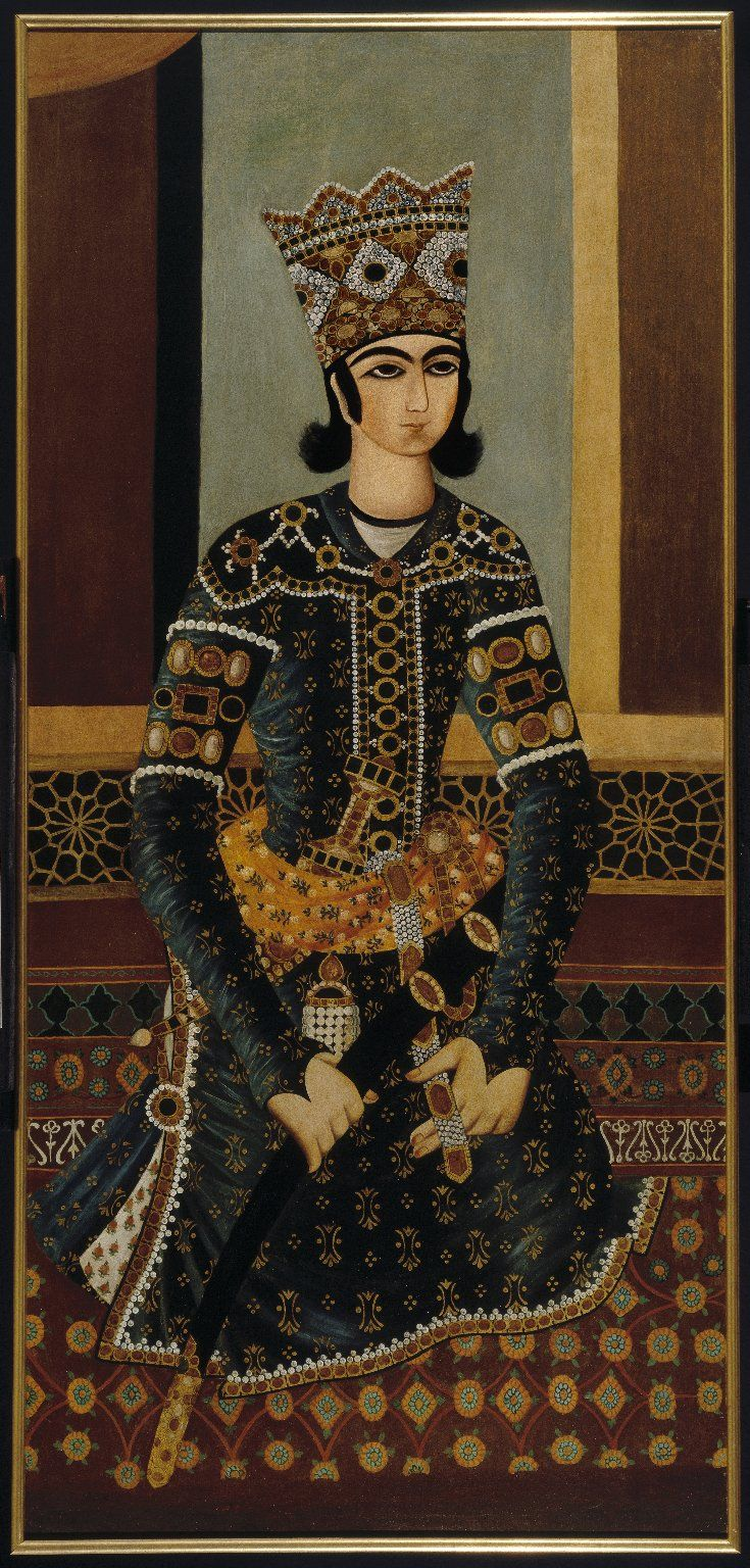 Seated Prince Medium: Oil on cotton (framed, conserved) Dates: ca. 1825 Dynasty: Qajar