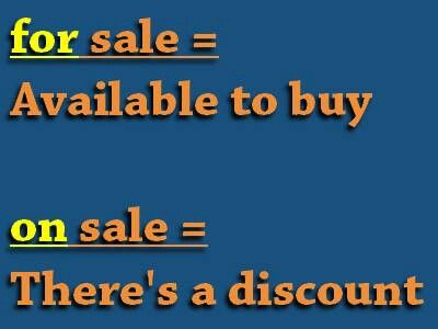 """""""SALE"""" on vs for make all the difference #English #grammar and #vocabulary usage"""