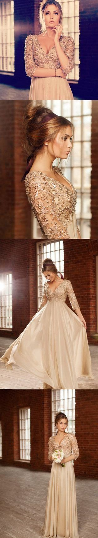 Evening Dress,Sparkly Party Dress,Crystals Prom Gown With Long Sleeves ,Pearl Wedding Gowns,Beaded Evening Dress,Champagne Prom Dress,Prom For Prom 2016,