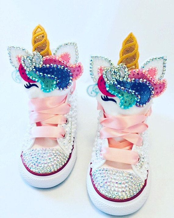 ae83908a5fbe Sparkle Unicorn Converse Baby s first birthday shoes