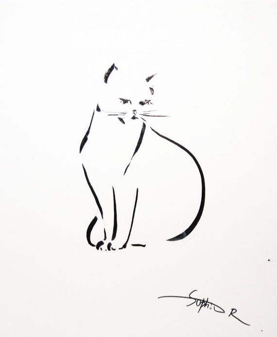 Line Drawing Cat Tattoo : Cat minimalist drawing original black and by
