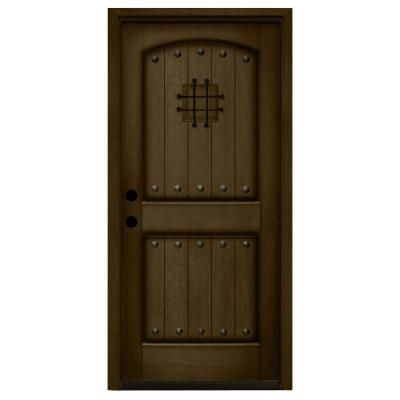 Steves sons rustic 2 panel speakeasy stained mahogany for Wood doors at home depot