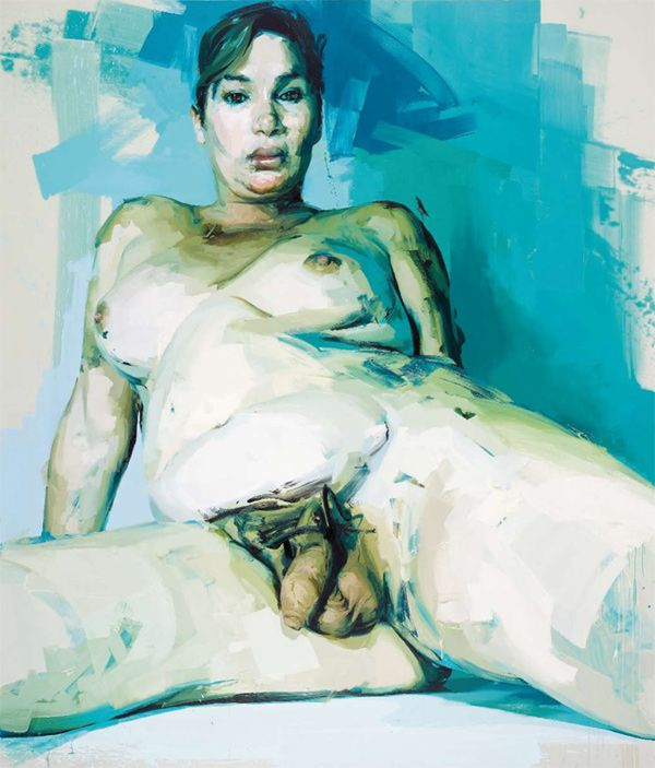 Jenny Saville, 'Passage' 2004 Oil on canvas 336 x 290 cm intresting image and compostion. daring as highly unexplored subject. the angle also very confrontational