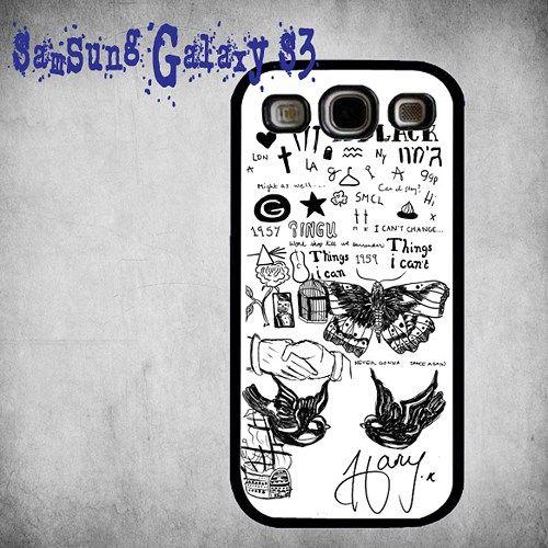 1D Harry Styles Tattoo Print On Hard Plastic Samsung Galaxy S3, Black Case