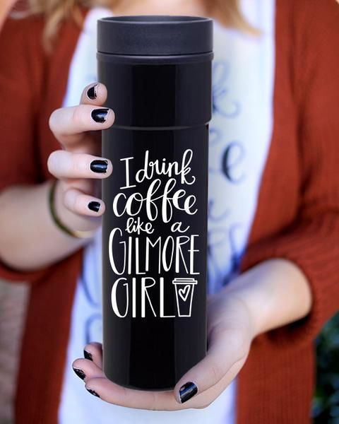 """My most popular design is now available in an amazing, stainless steel travel mug! Pre-Ordered mugs will ship the week of 11/28. About/Inspo:For all you Gilmore Girls fans - this one is for you! If you've ever seen the show, you know that a subtle theme throughout all the seasons is how much coffee is consumed by both Lorelai Gilmore's. Specs:This """"I Drink Coffee Like A Gilmore Girl"""" tumbler is made from durable stainless steel on the outer walls, which makes thistravel mug a…"""