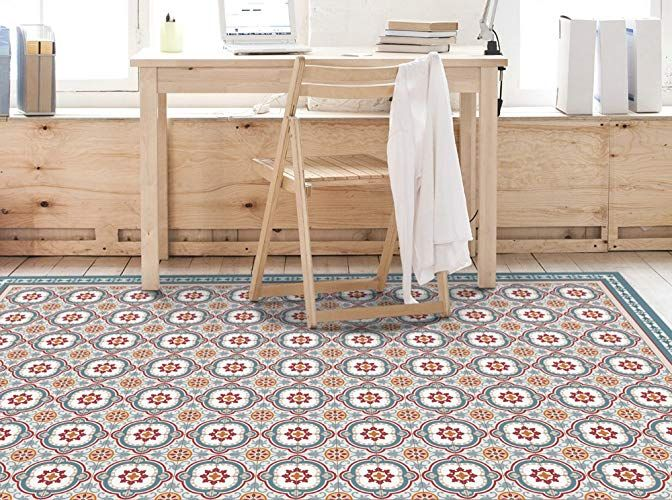 Amazon Com Vinyl Floor Mat With Spanish Blue Tiles Pattern