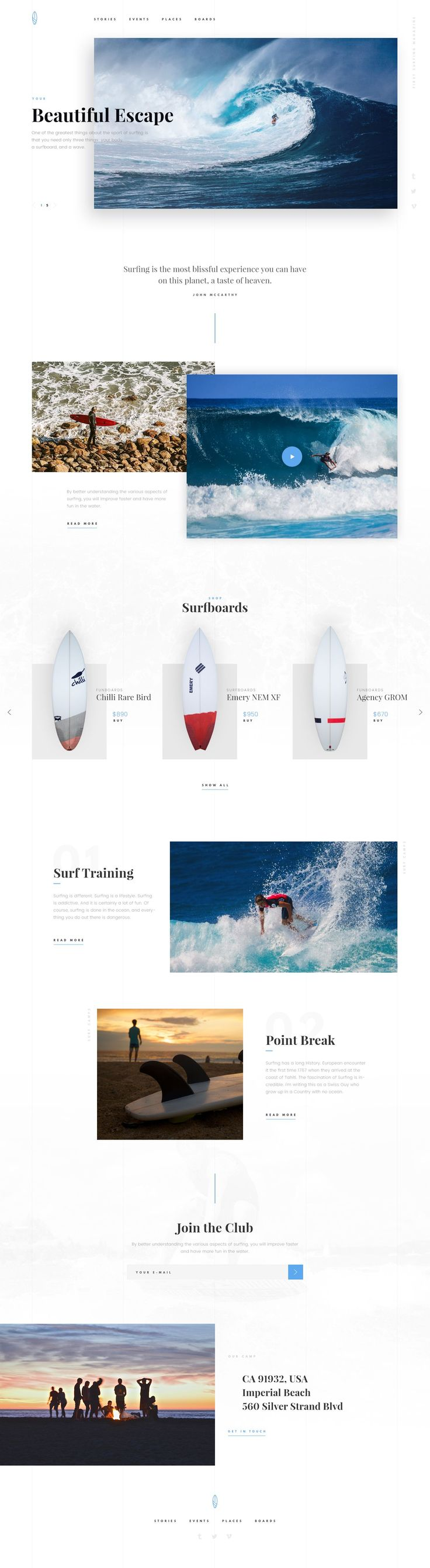Surf website design with beautiful typography and layout.