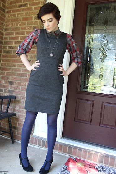Goodwill Button Up, Salvation Army Little Grey Dress, Merona Blue Tights, Off Broadway Little Black Heels