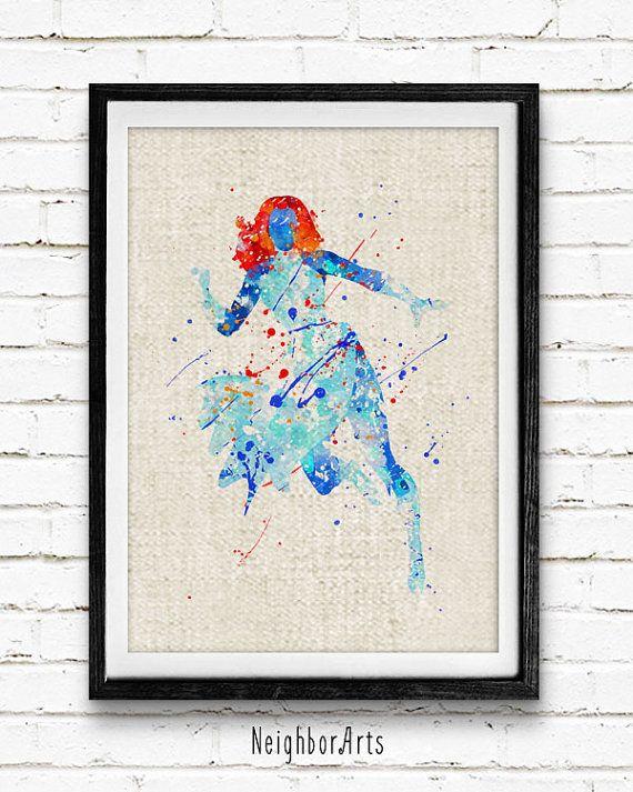X-Men Storm Watercolor Poster Print, Superhero Watercolor Print, Boys Room Wall Art, Home Decor, Not Framed, Buy 2 Get 1 Free! NA88