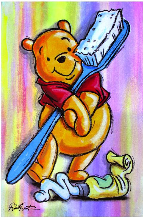 Winnie the Pooh with his toothpaste and toothbrush. #DeltaDental
