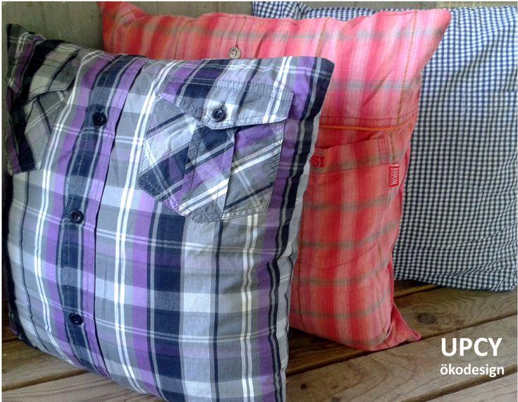 """Öko párna huzat - ing továbbhasznosítás, Eco friendly upcycled pillow cover from me""""s shirt"""