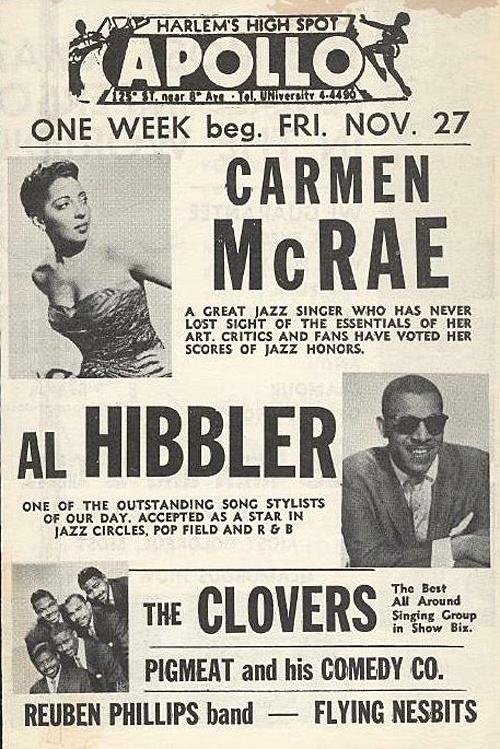 Classic Apollo Theater Poster: Carmen McRae, Al Hibbler, The Clovers, Pigmeat Markum