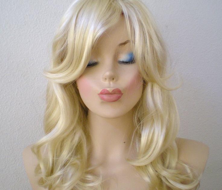 Blonde Wig Medium Length Wavy Hair Long Side Bangs Pure