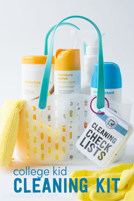 Cleaning Kit for a kid off to College: Complete with free printable cleaning check lists - get those kids organized!