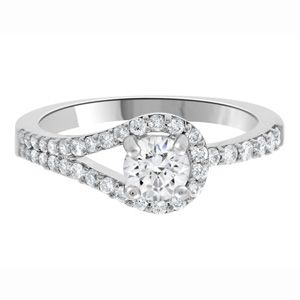 0.50ct Loop Style Solitaire Ring DR006 with a round brilliant cut centre diamond in 18k white gold