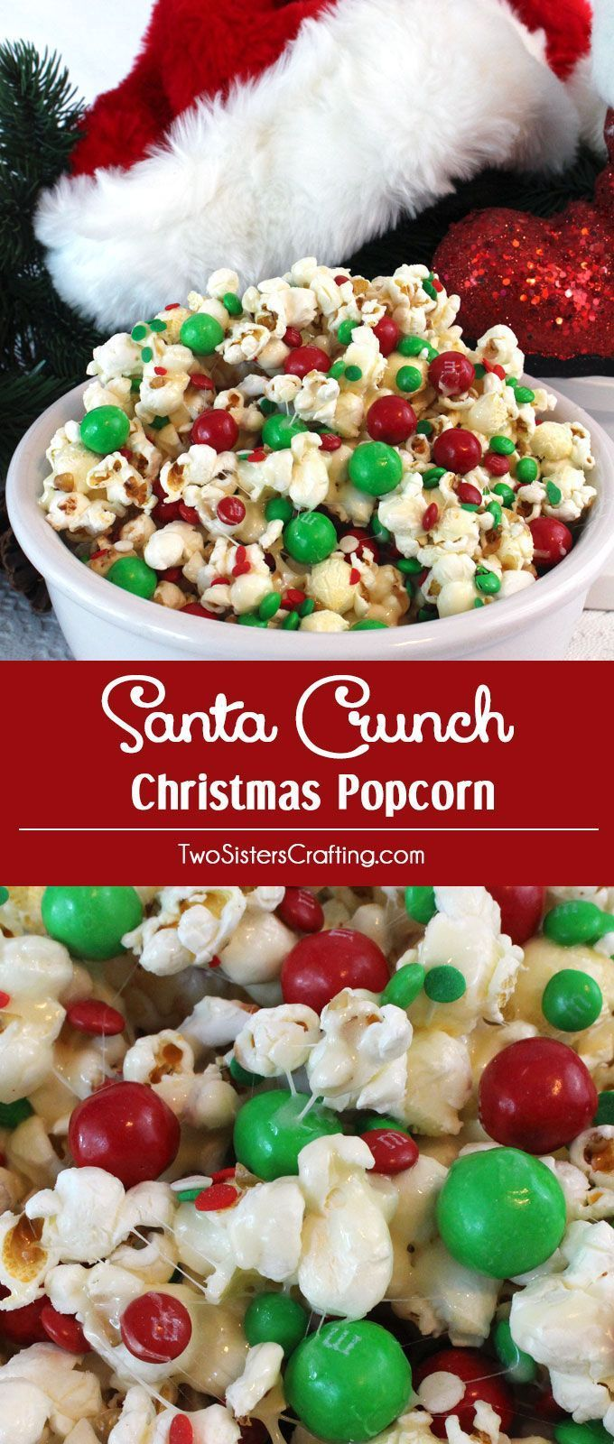 Santa Crunch Popcorn - a fun Christmas treat. Sweet, salty, crunchy and delicious and it is so easy to make. It would be a great Christmas Party Food or a movie night dessert! Follow us for more fun Christmas Dessert ideas.