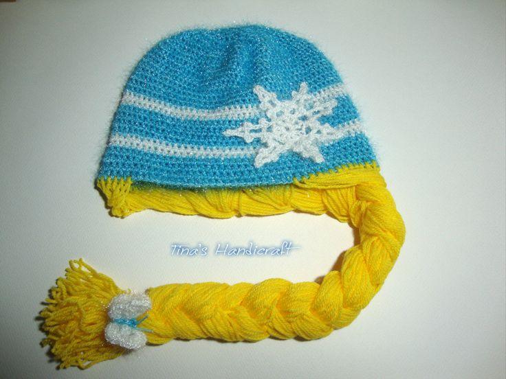 Disney Frozen Princess Braided Winter Hat,gift ideas,winter accessory,snowflake, by TinasHandicraftGr on Etsy