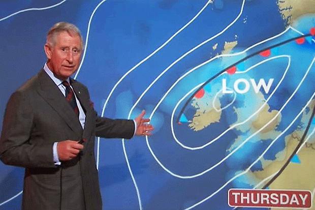 Prince Charles tried his hand at weather reporting for BBC Scotland. Apparently he was visiting the BBC Glasgow studios and decided to give it a go. Jolly good show!