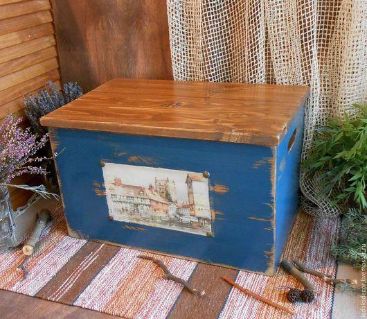 Большой деревянный короб с крышкой. Сундук для хранения. Стиль загородного дома. Сундук для интерьера дома или дачи. `LedaksDecor` -для уютного дома!