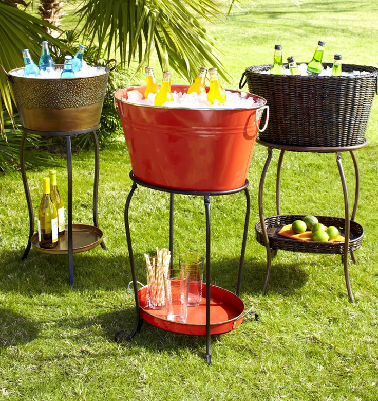 I repin this for the idea ... as nice as they are, I plan on DIYing my own....Bring style and convenience to outdoor parties with a Beverage Tub