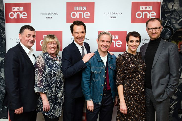 SHERLOCK (BBC) ~ Steven Moffat, Sue Vertue, Benedict Cumberbatch, Martin Freeman, Amanda Abbington, Mark Gatiss at Season 4 screening in London. December 19, 2016.