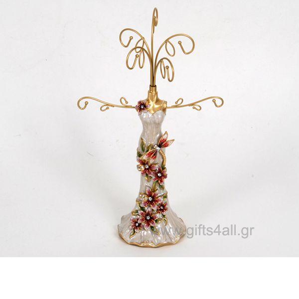 Κρεμάστρα σταντ μπιζού φόρεμα από σμάλτο και στρας σε μπεζ χρώμα με σχέδιο λιβέλουλα και λουλούδια. Ένα λειτουργικό δώρο για τοποθέτηση κοσμημάτων, κολιέ, μενταγιόν, σκουλαρίκια.
