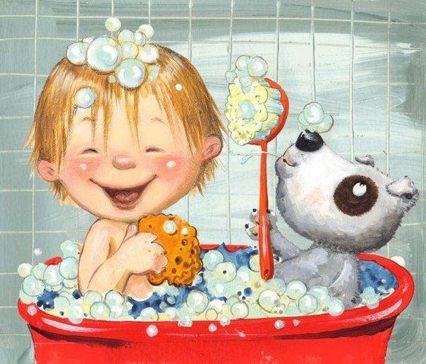 Открытка мыться в ванной, открытки иллюстрации