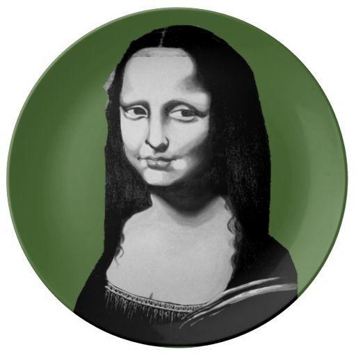 "Porcelain Plate --- Art by Cherie Roe Dirksen in tribute to Leonardo Di Vinci's ""Mona Lisa"""